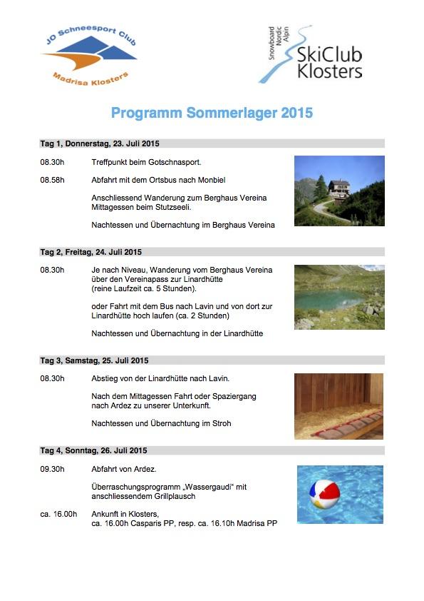 Programm Sommerlager 2015